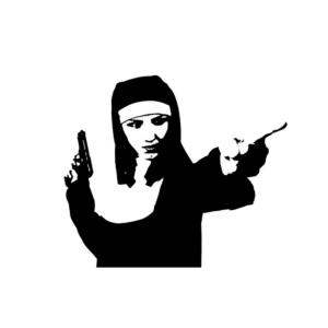 nun with gun pointing